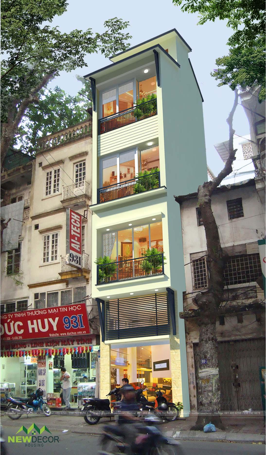 Thiết kế mặt tiền nhà ống hiện đại tại Hà Nội