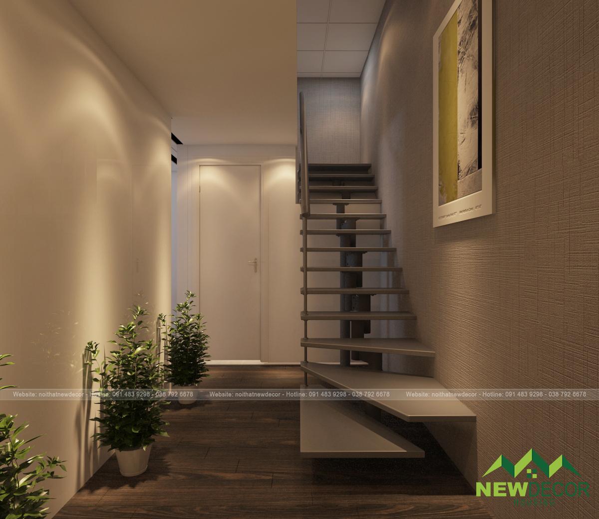 Không gian bên trong có chiếc cầu thang đi lên tầng 2. Đây là không gian sinh hoạt riêng tư của gia đình gia chủ.