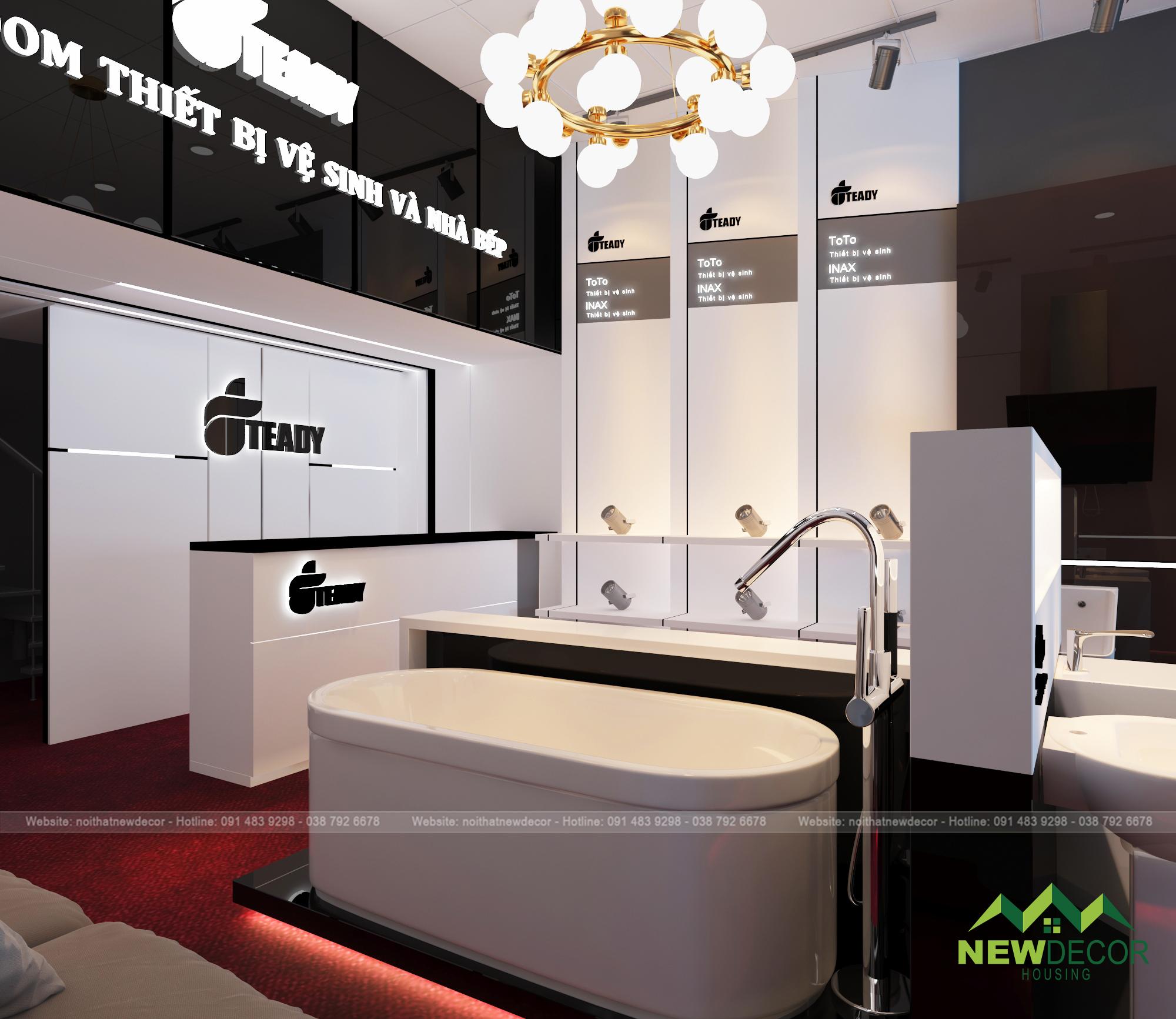 Bàn quầy được để ở góc trong của căn phòng. Logo và tên của showroom được thiết kế vô cùng dễ nhìn và dễ nhớ.