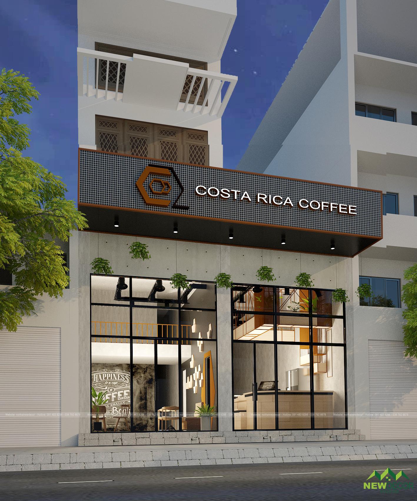 Từ bên ngoài nhìn vào, chúng ta đã có thể thấy được sự đơn giản trong thiết kế nội thất quán cà phê.