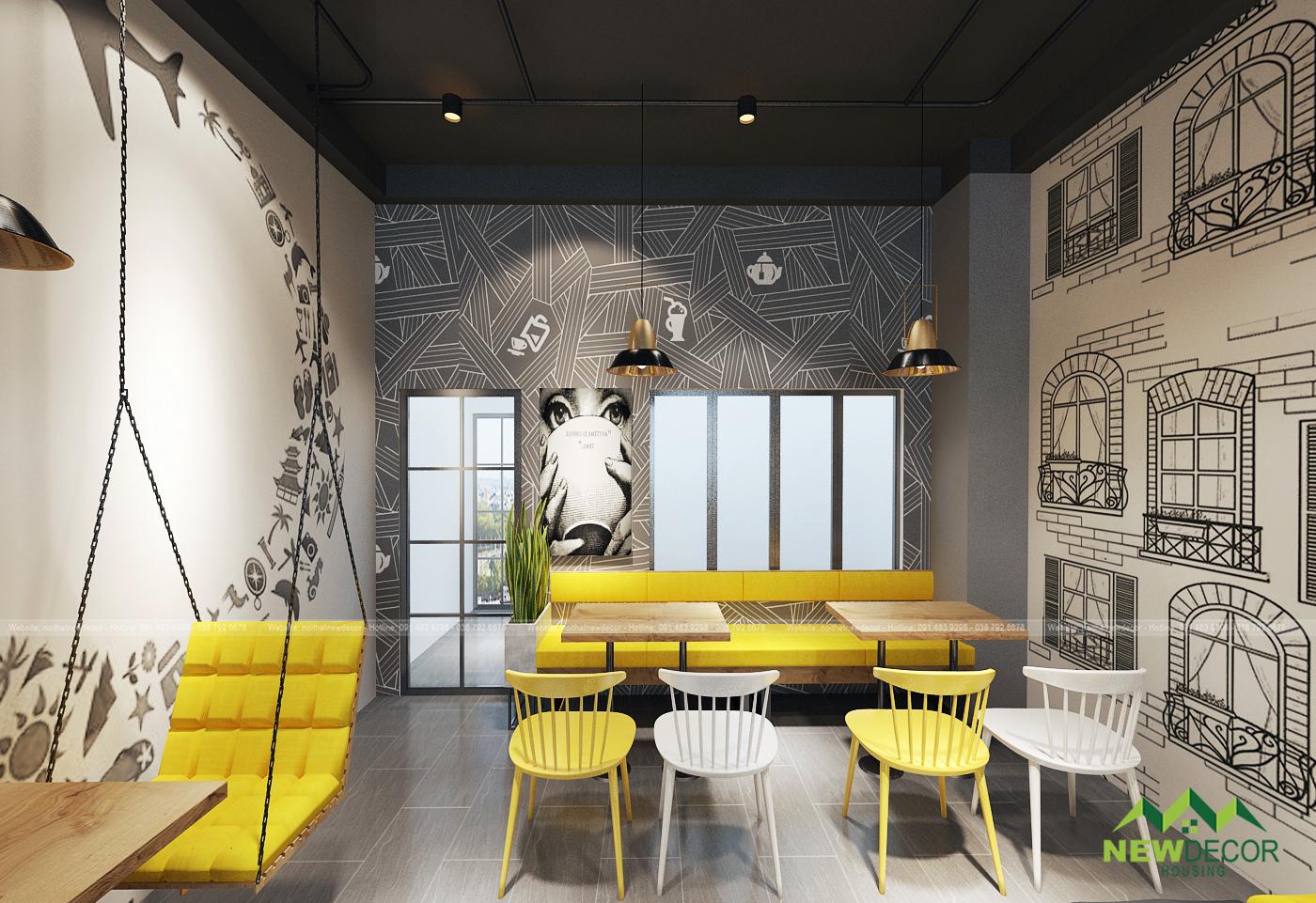 Thiết kế nội thất vàng tươi khiến khách hàng thêm phần thích thú