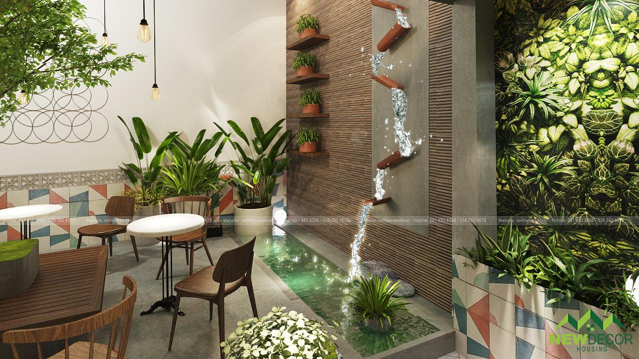 Một thác nước nhân tạo vô cùng đẹp được thiết kế ngay trên tường của quán.