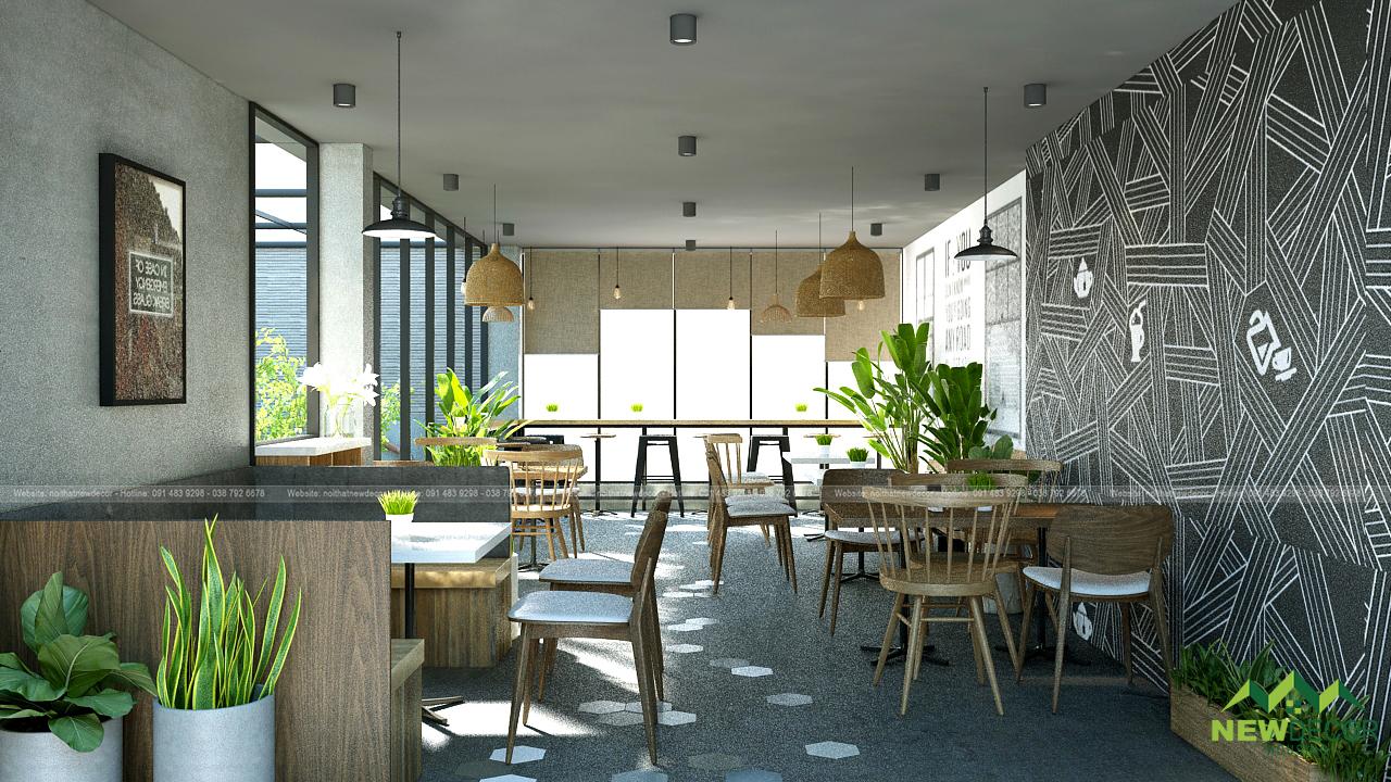 Bên cạnh màu nâu chủ đạo, nội thất quán cà phê còn sử dụng tone ghi xám tạo để tạo nên sự đơn giản.