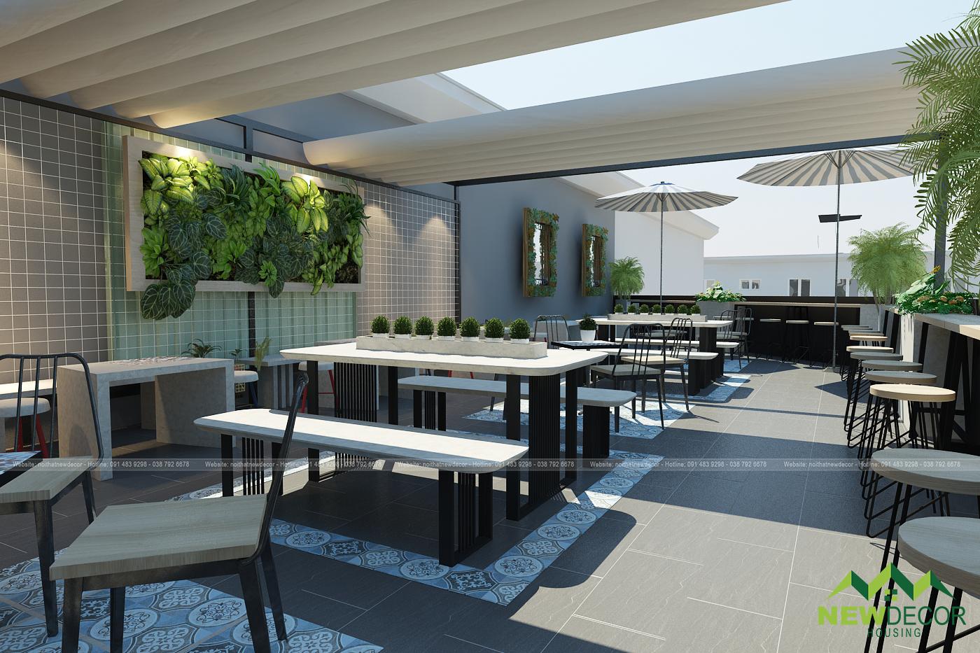 Tầng thượng của quán, chính là một không gian nội thất quán cà phê ngoài trời