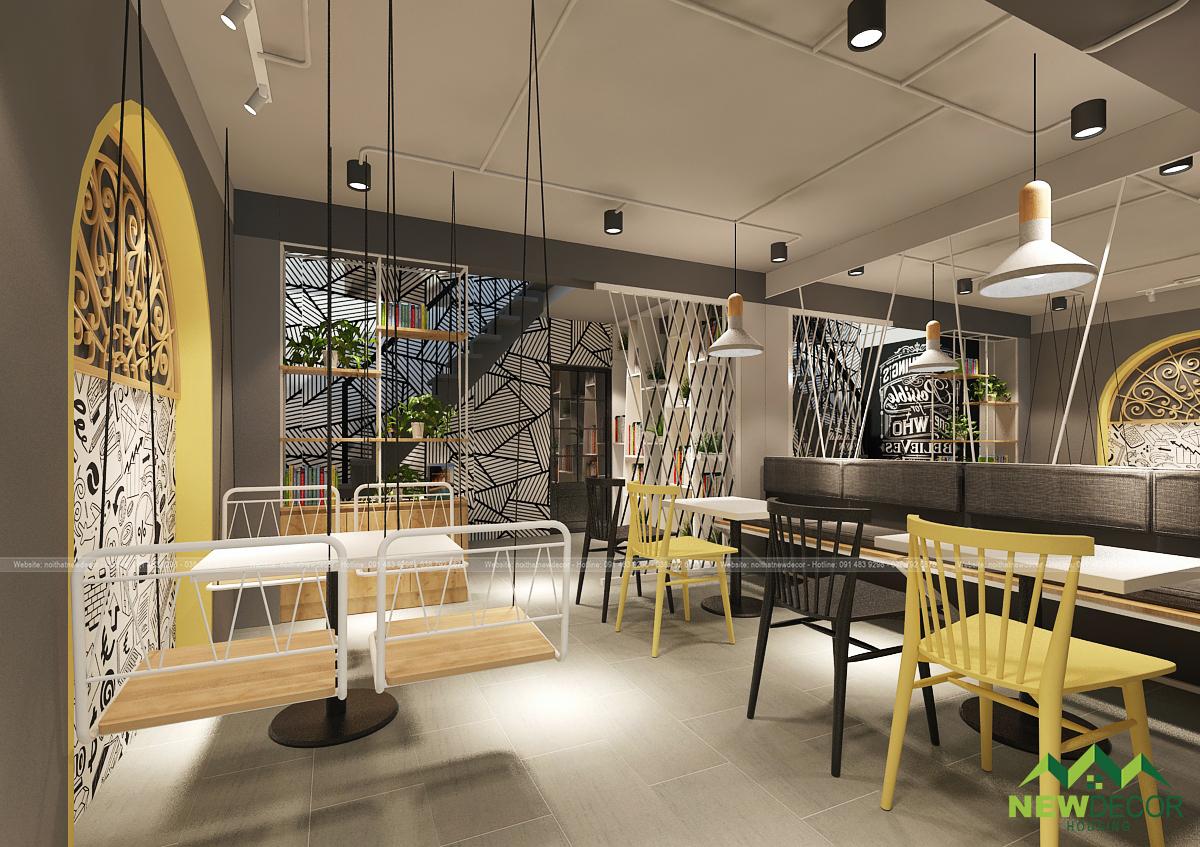 Không gian tầng 1 của quán trà sữa với thiết kế nội thất cực kỳ mới lạ