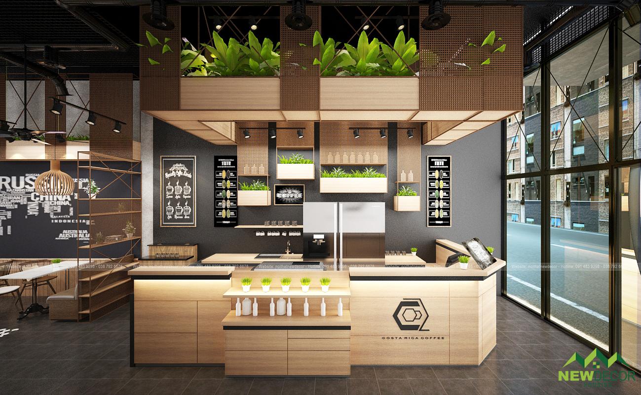 Quầy pha chế trong nội thất quán cà phê được làm hoàn toàn bằng gỗ.
