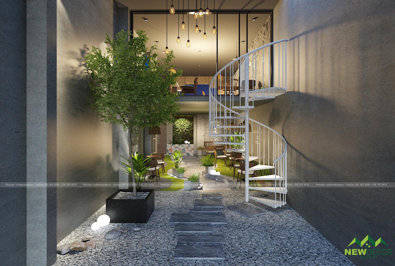 Lối đi lên tầng hai cũng được thiết kế theo phong cách nội thất quán cà phê đơn giản.