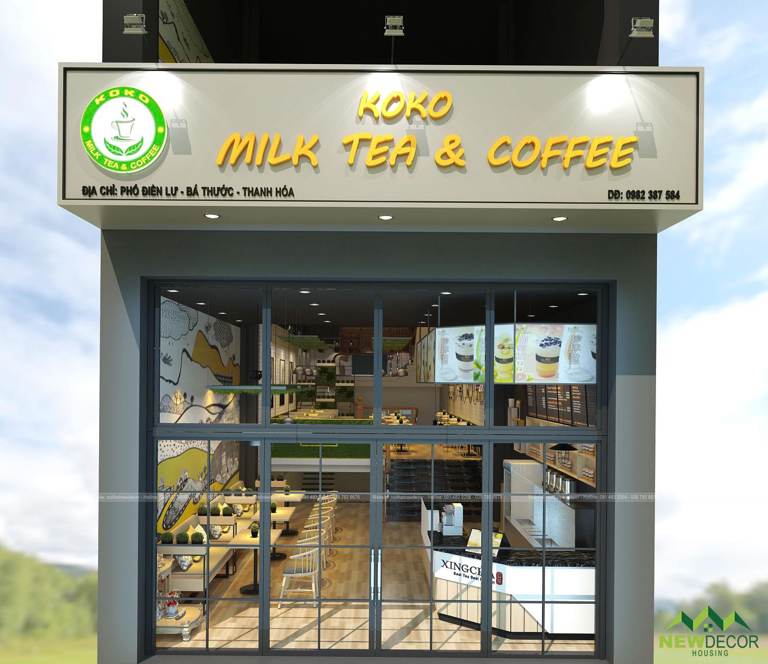 mặt tiền cửa hàng Koko milk tea & coffee