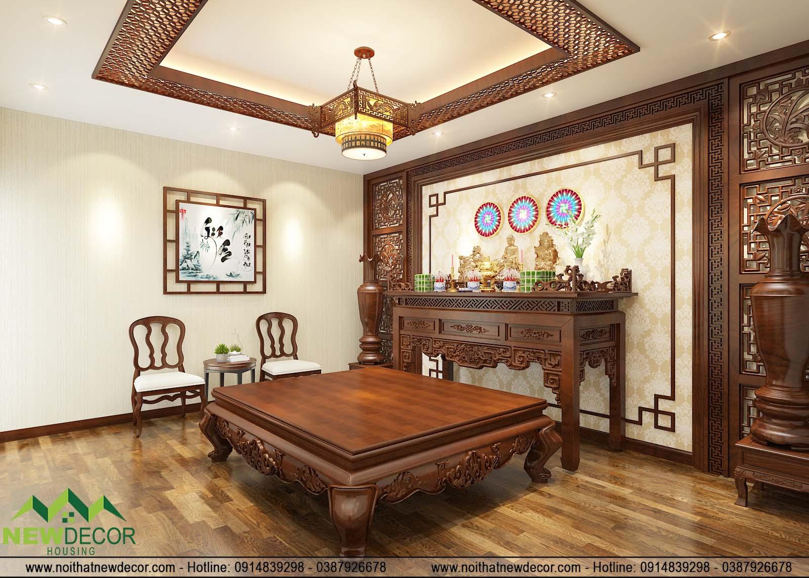 thiết kế không gian tầng 3 với phòng thờ trang nghiêm