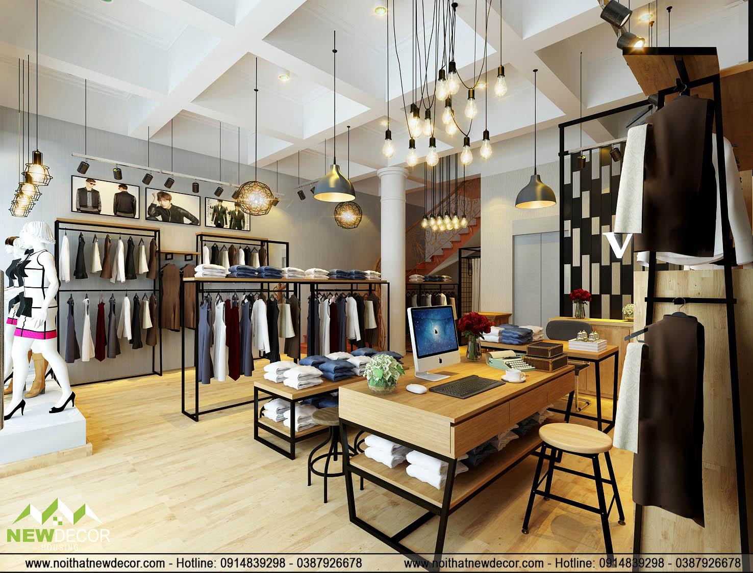 Thiết kế shop quần áo men với phong thay đồ kín đáo