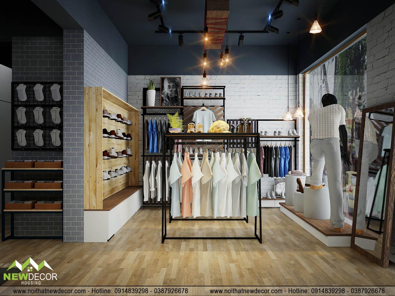 lối đi thông thoáng, rộng rãi trong shop quần áo nam