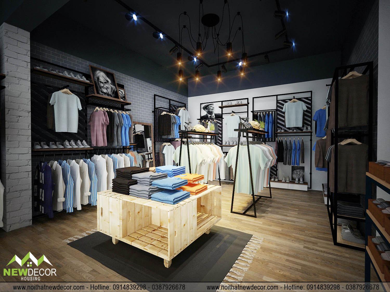 Thiết kế shop quần áo Men linh hoạt trong việc sử dụng màu sắc
